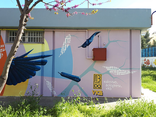 Alessio Bolognesi - La volpe ed il corvo, Drapetsona Athens, Athens Street Art Festival, 2018