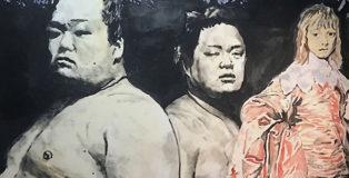 Andrea Saltini - senza titolo, 2018, argilla pigmentata di nero, gesso, pigmenti, inchiostri cinesi su tela, cm. 180x220, courtesy ArteSì - Galleria d'Arte Contemporanea