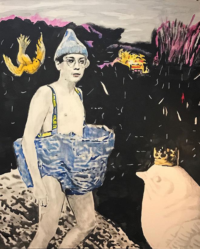 Andrea Saltini - Giovani contendenti al trono di Svezia in consultazione, 2018, argilla pigmentata di nero, gesso, pigmenti, inchiostri cinesi su tavola, cm. 220x180, courtesy ArteSì - Galleria d'Arte Contemporanea