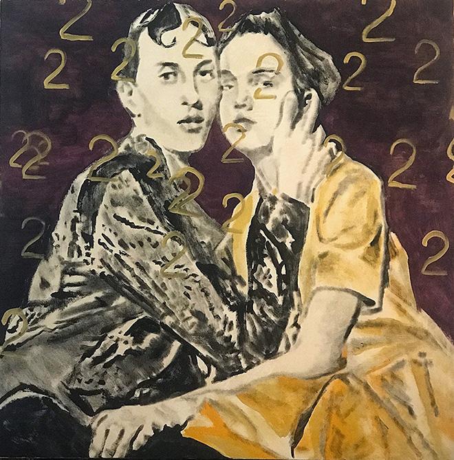 Andrea Saltini - Insieme noi due siamo pari, 2018, argilla pigmentata di nero, gesso, pigmenti, inchiostri cinesi su tela, cm. 100x100, courtesy ArteSì - Galleria d'Arte Contemporanea