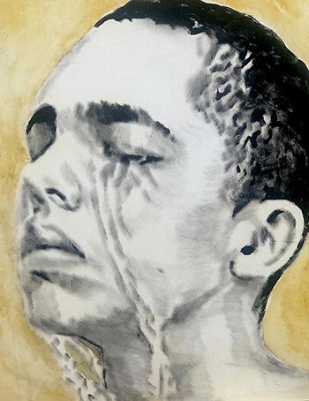 Andrea Saltini - L'uomo che piange, 2018, argilla pigmentata di nero, gesso, pigmenti, inchiostri cinesi su tela, cm. 100x80, courtesy ArteSì - Galleria d'Arte Contemporanea
