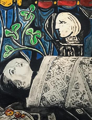 Andrea Saltini - Nudo foglie verdi busto e tappeto, 2018, argilla pigmentata di nero, gesso, inchiostri cinesi su tavola, cm. 144x124, courtesy ArteSì - Galleria d'Arte Contemporanea