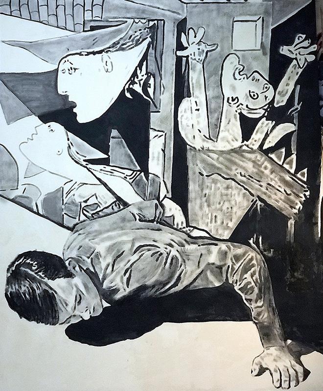 Andrea Saltini - Sopravvivere a Picasso, 2018,  argilla pigmentata di nero, gesso, pigmenti, inchiostri cinesi, courtesy ArteSì - Galleria d'Arte Contemporanea