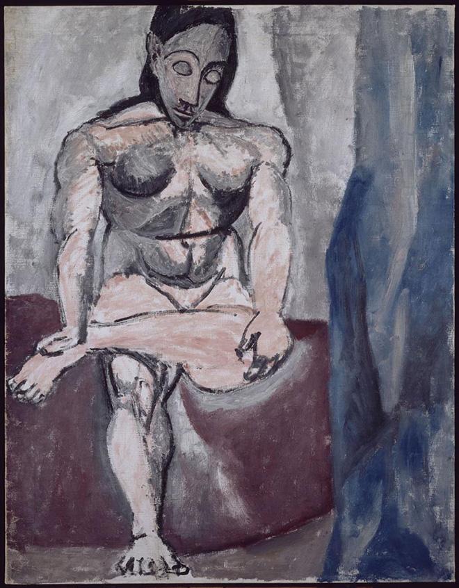 """Pablo Picasso - Nudo seduto, studio per """"Les demoiselles de Avignon"""", 1906-1907, olio su tela, 121x93,5 cm. Paris, Musée National Picasso. Credito fotografico:  © RMN-Grand Palais (Musée national Picasso-Paris) / René-Gabriel Ojéda/dist. Alinari. ©Succession Picasso, by SIAE 2018"""