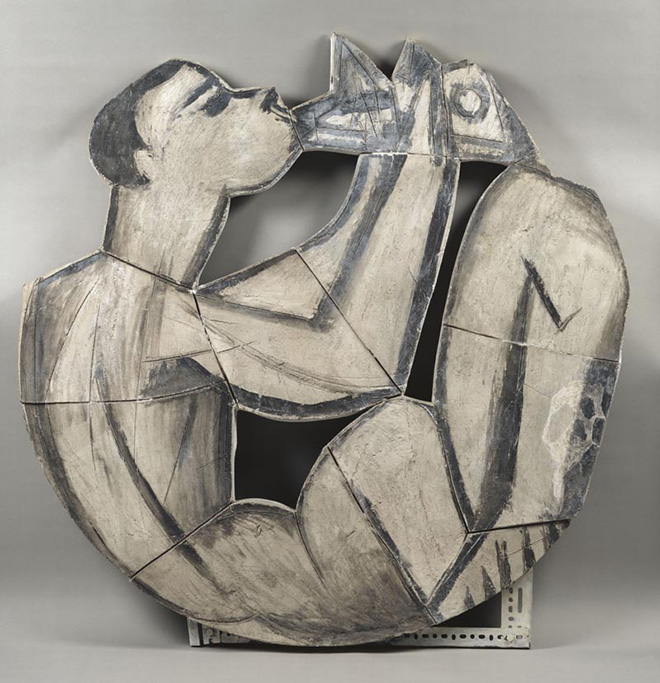 Pablo Picasso - Suonatore di flauto doppio seduto, 1958 terracotta, 126,5x125,5x2 cm. Paris, Musée National Picasso. Credito fotografico:© RMN-Grand Palais (Musée national Picasso-Paris) /Gérard Blot/ dist. Alinari. ©Succession Picasso, by SIAE 2018