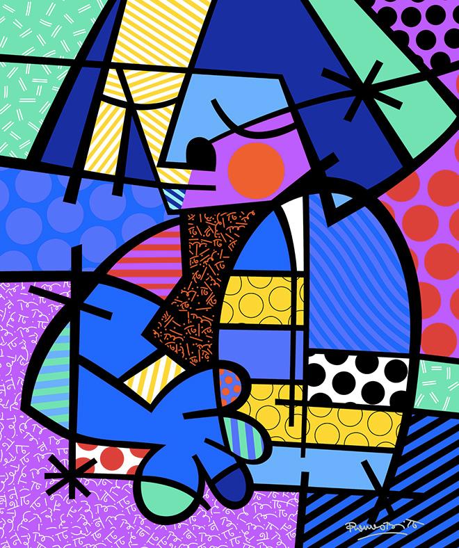 Romero Britto - Dusk, 2017, serigrafia su tela con polvere di diamante, cm 86,5x71