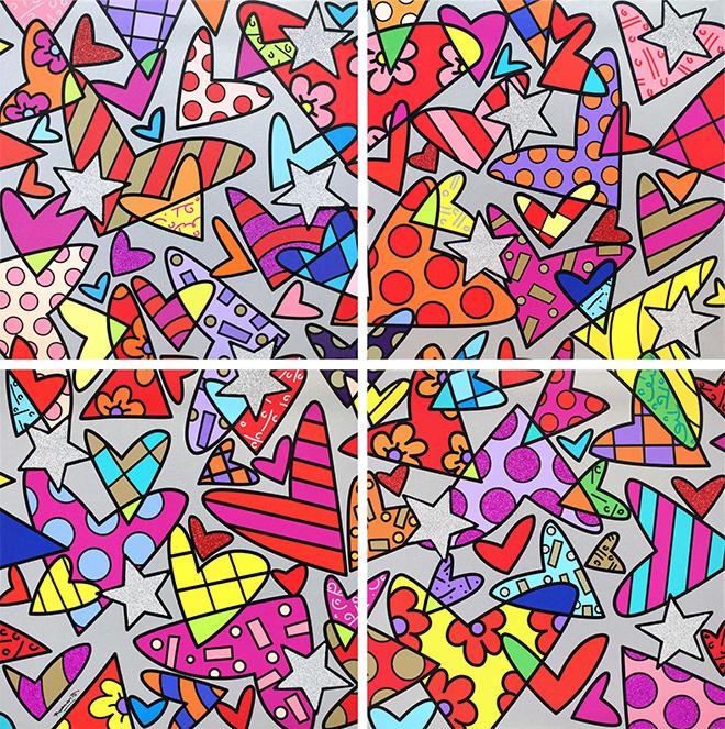 Romero Britto - Huge, 2017, serigrafia su tela, 4 elementi, cm 249x249 cad.