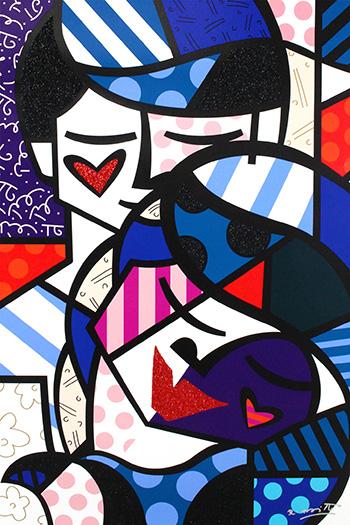 Romero Britto - Love me tender, 2017, serigrafia su tela con polvere di diamante, cm 137x91,5