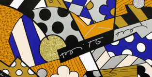 Romero Britto - The Blues, 2017, serigrafia su tela con polvere di diamante, cm 46x61