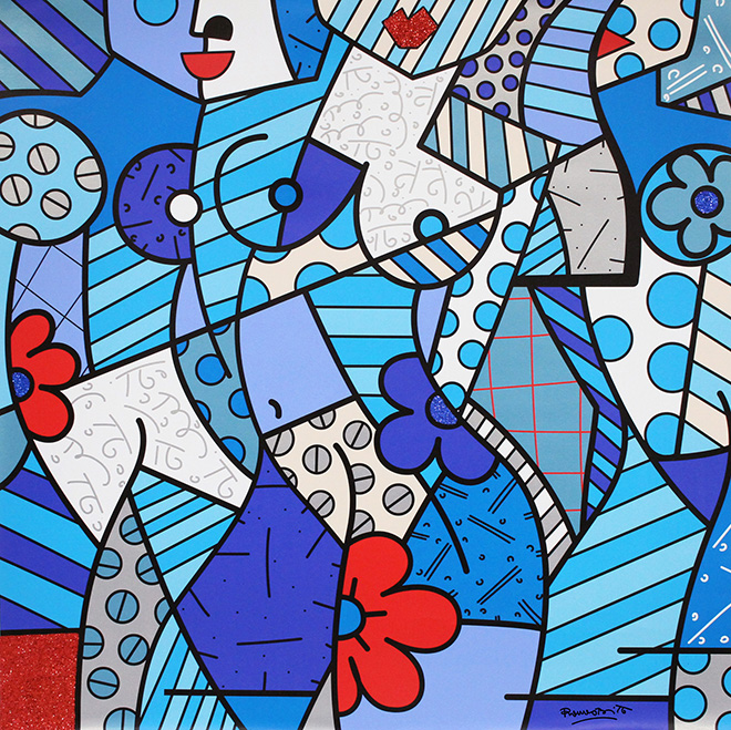 Romero Britto - Trinity, 2017, serigrafia su tela con polvere di diamante, cm 132x132