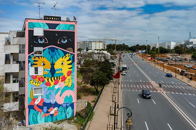 Amaia arazzola + Txemy - Rabat, Jidar, Toiles de rue 2018. photo credit: Hamza Nuino
