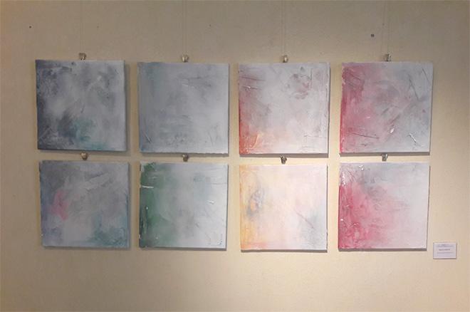 Daniele Bongiovanni - Quattro elementi, 40x40 cad., tecniche miste su tela, 2016