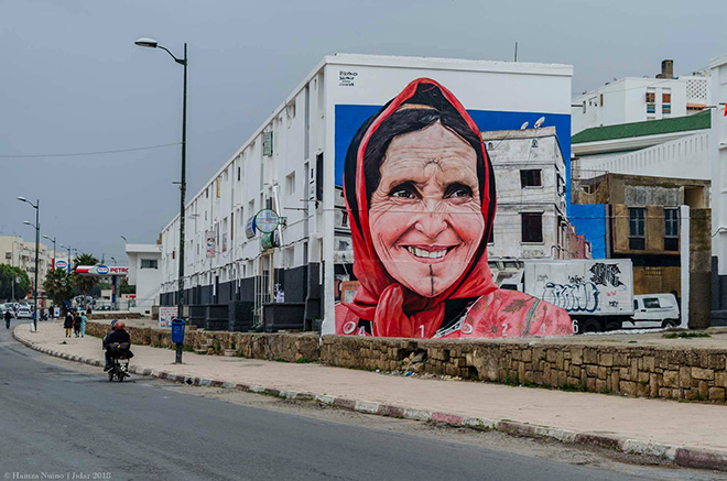 Iramo Samir - Rabat, Jidar, Toiles de rue 2018. photo credit: Hamza Nuino