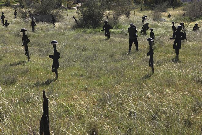Josef Koudelka photographing a war memorial, Kibbutz Yad Mordechai - KOUDELKA Shooting Holy Land. Copyright: Gilad Baram