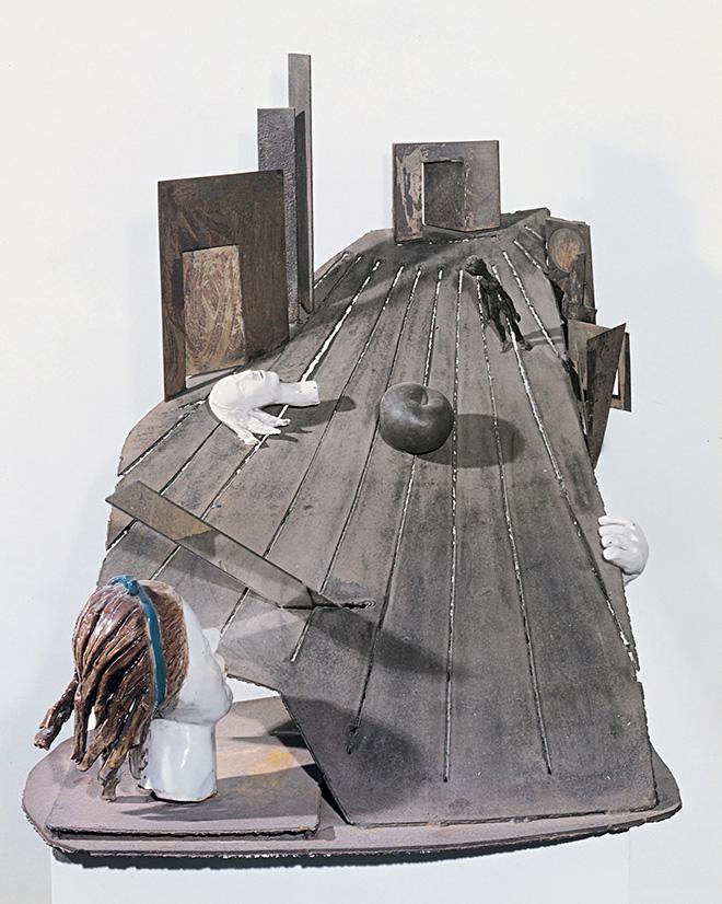 Alik Cavaliere - G.B. si innamora della signorina Bene, 1962, porcellana, ferro, bronzo, piombo, specchi, cm 78x103x71 - Museo del Novecento