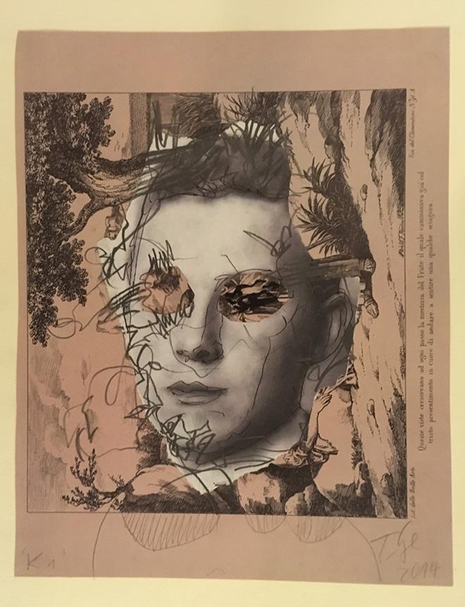Thomas Lange - K1, 2014, tecnica mista su carta, 30 x 14 cm, courtesy Atelier Thomas Lange