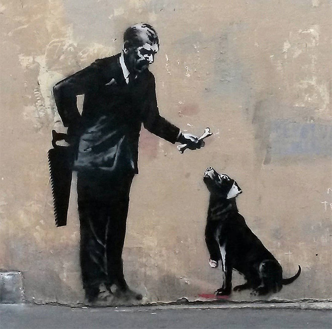Banksy - mural in Rue Victor-Cousin (V Arrondissement), Paris