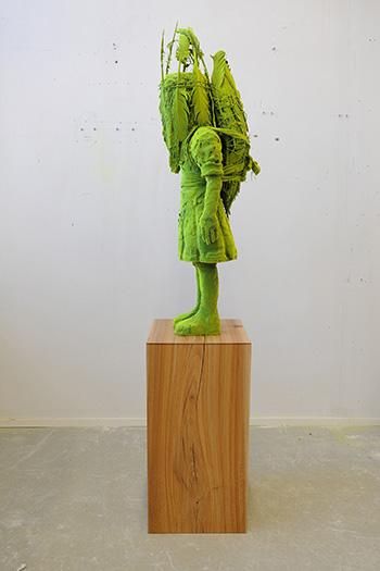 Kim Simonsson - Shaman Moss Girl, 2018, Ceramics, nylon fibre. cm h 110 x w 45 x l 50