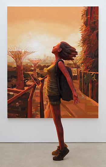 Shintaro Ohata - Deep Breath (detail), 2018, mixed media, 162 x 130.3 cm (painting), 146 x 55 x 60 cm (sculpture). © OHATA Shintaro. courtesy of the artist, Mizuma Gallery, and YUKARI ART