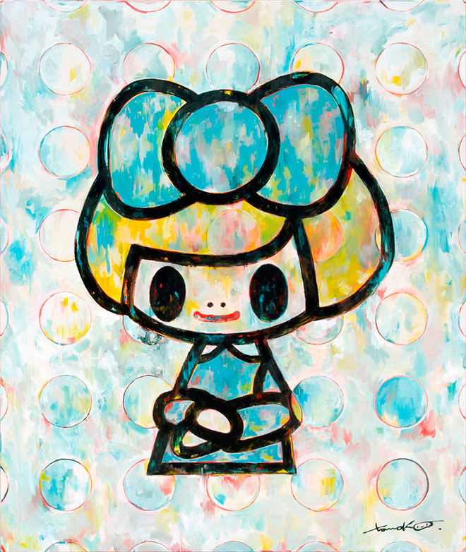 Tomoko Nagao - Gioconda, waterblue ribbon white dotts, 2018. olio su tela, cm 120x100