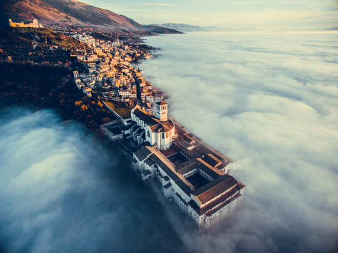 Francesco Cattuto - Assisi Over the Clouds, Drone Awards 2018. Winner Urban Category