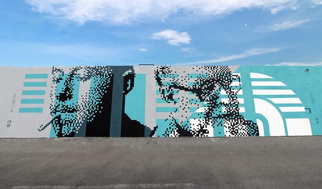 Krayon - dedica ad Adalberto Libera, Vedo a colori, Street Art nel porto di Civitanova Marche