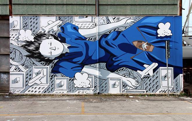 Millo - In you, Vedo a colori, street art nel porto di Civitanova Marche