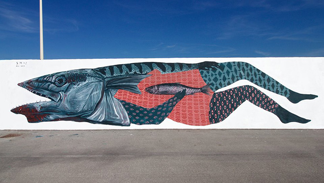 Nicola Alessandrini + Lisa Gelli - Specie migranti, Vedo a colori, street art nel porto di Civitanova Marche