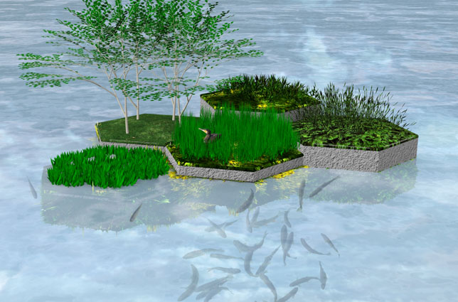 Recycled Park - Rotterdam. 3D impression aerial view variants building blocks