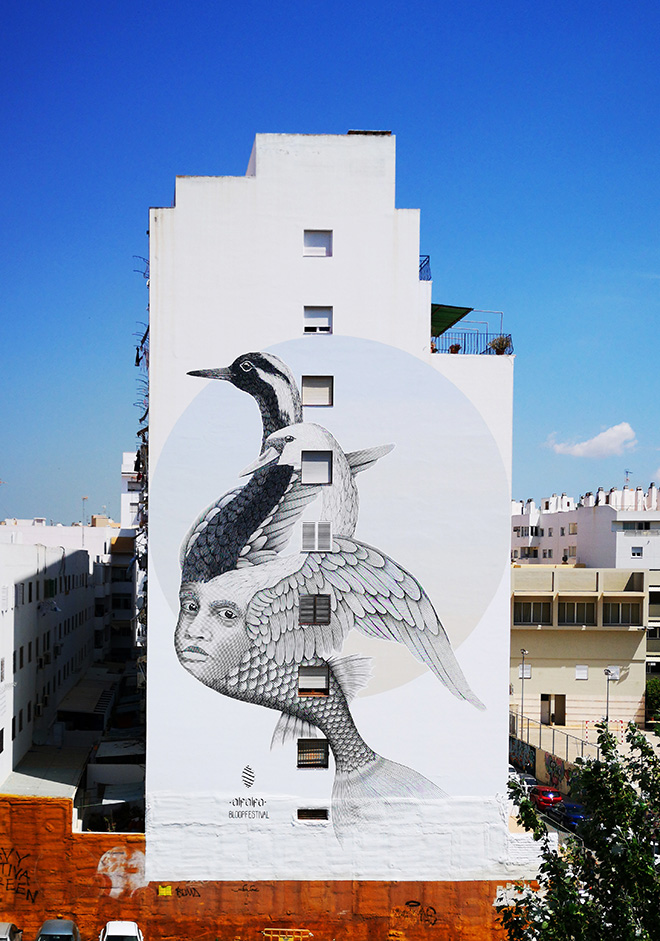 Alfalfa - Hope for those who need it the most, mural in Ibiza for BLOOP Festival, 2018