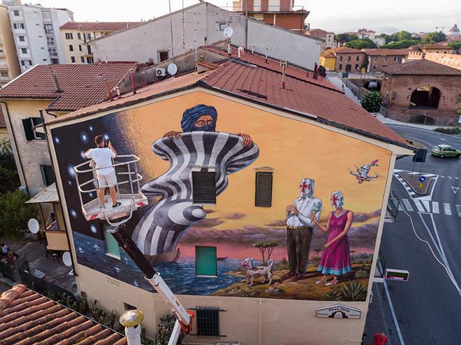 AEC Interesni Kazki – Cavalieri & Saraceni, Pisa, 2018. Murale realizzato per stART Festival-Welcome to Pisa. photo credit: Carlo Regoli.