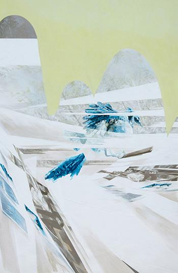 Anna Caruso - Anche le cartine geografiche sono soggettive, 2018, acrilico su tessuto non tessuto, cm 120x80
