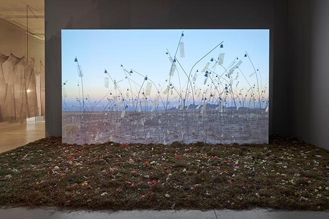 Christian Boltanski - Animitas (Small Souls), 2015, proiezione video (Animitas; 13 ore, 6 sec), fiori, fieno, panchina, dimensioni variabili. Photo credit Marian Goodman Gallery London, Courtesy the artist e Marian Goodman Gallery, New York, Paris, London