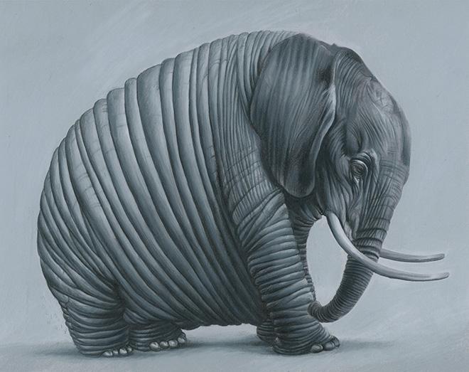 José Molina - Gli elefanti sentiranno la mancanza di docce fresche nel deserto dei coralli morti?, 2018. matita grassa su carta, cm 22,2x28. Foto di Ernesto Blotto