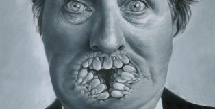 José Molina - Quando finiranno le parole, con cosa scriveremo i giornali?, 2018, matita grassa su carta, cm 22,2x28. Foto di Ernesto Blotto