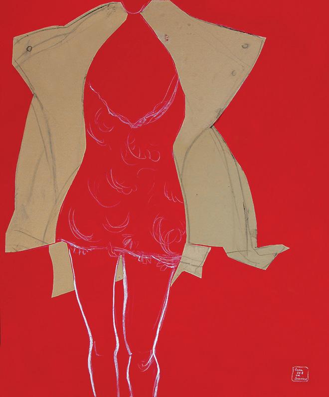 Luca Vernizzi - Per Scervino, 2018, collage, tempera e matita su tela, cm 120x100