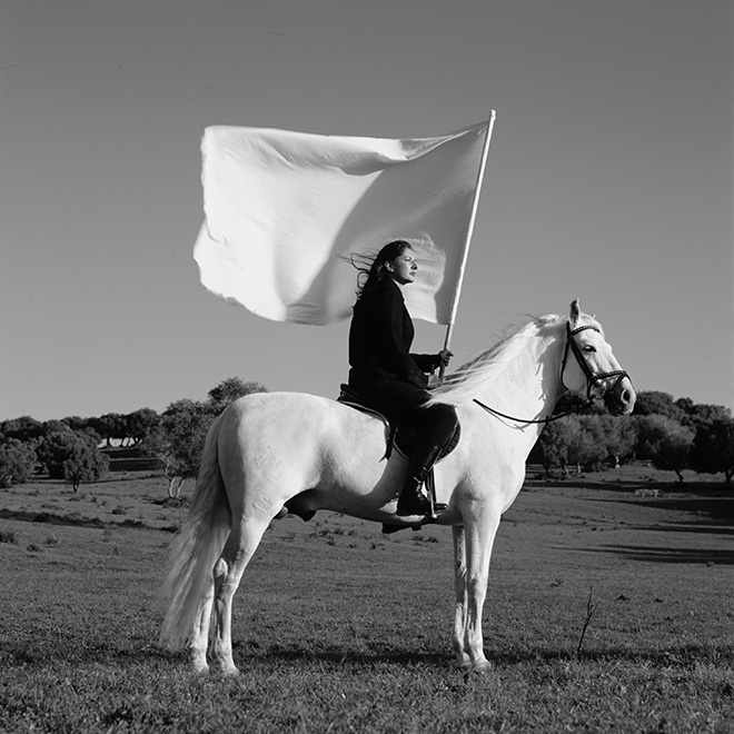 "Marina Abramović The Hero (video) 2001, video: video a un canale (b/n, sonoro), 14'21"". Amsterdam, LIMA Foundation. Courtesy of Marina Abramović Archives e LIMA, MAC/2017/050:02. Credit: Ph. TheMahler.com. Courtesy of Marina Abramović Archives. Marina Abramović by SIAE 2018"