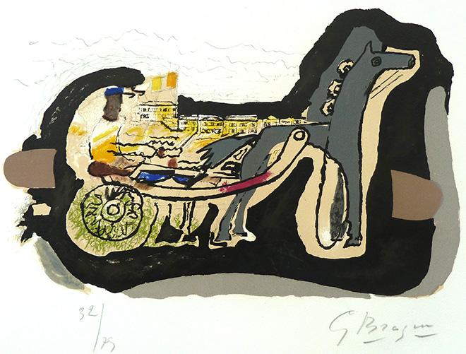 Georges Braque - Gélinotte, 1960, litografia su carta vélin d'Arches, cm 48x65