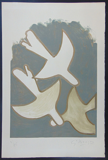 Georges Braque - Les oiseaux blancs, 1958, litografia su carta velin d'Arches, cm 72,5x49