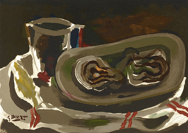 Georges Braque - Nature morte aux huitres, 1950, incisione, cm 36x46