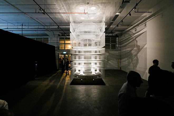 Edoardo Tresoldi - Cube Temple, an ethereal creation of wire mesh in Singapore. photo credit: ©Peter Tan