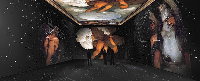 Render Giove, Nettuno e Plutone, Gabinetto alchemico Casinò Aurora - Caravaggio. Oltre la tela: La mostra immersiva