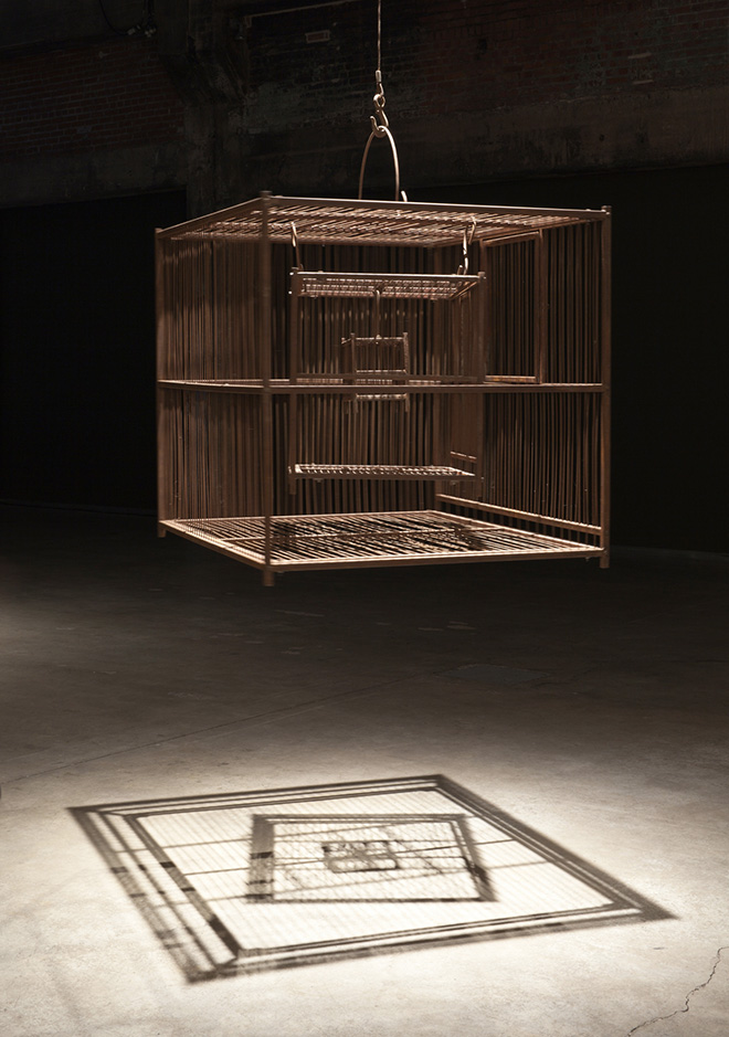 Shilpa Gupta - Untitled (cage), 2011, tre gabbie in metallo, cm 117x99x99. Photo by Guy L'Heureux, Courtesy of the artist and GALLERIA CONTINUA, San Gimignano / Beijing / Les Moulins / Habana.