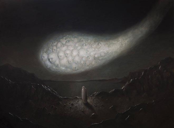 Alessandro Sicioldr - Fuoco antico, 2018. Olio su tela, cm 150x200