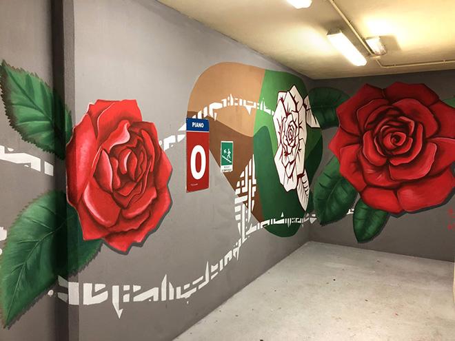 Il progetto di Alessio Bolognesi per il parcheggio del Bellone: I 4 elementi. BAU - Biella Arte Urbana. Piano 0 Parcheggio