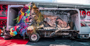 Bordalo II - Wild Wild Waste, Life is beautiful street art festival, Las Vegas, 2018. photo courtesy of: Justkids