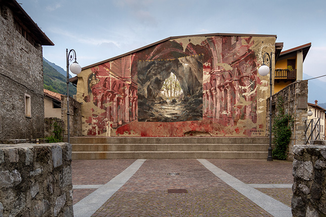 Borondo - Mites terram possident, WALL IN ART 2018, Malegno. Photo credit: Davide Bassanesi