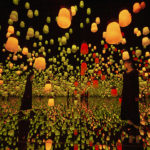 teamLab – Forest of Resonating Lamps One Stroke Autumn Mountain