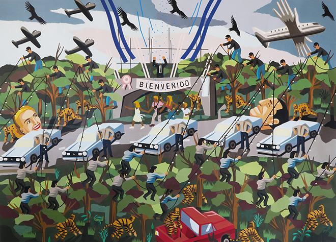 Franco Fasoli, JAZ - Bienvenido, collage on canvas, 2016