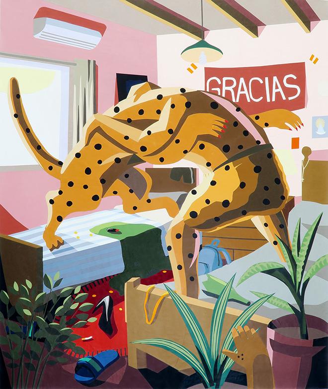 Franco Fasoli, JAZ - El agradecido, collage on canvas, 2017